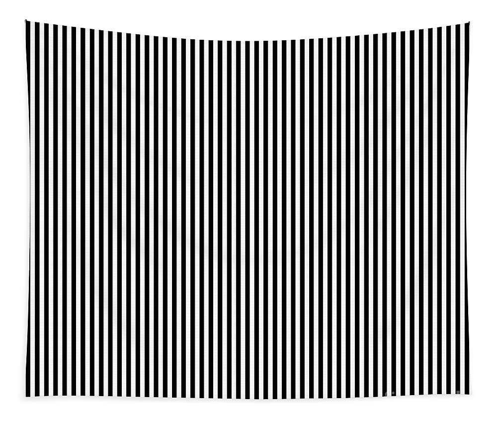 Vertical Stripes In Black And White Tapestry featuring the digital art Vertical Stripes In Black And White by Leah McPhail