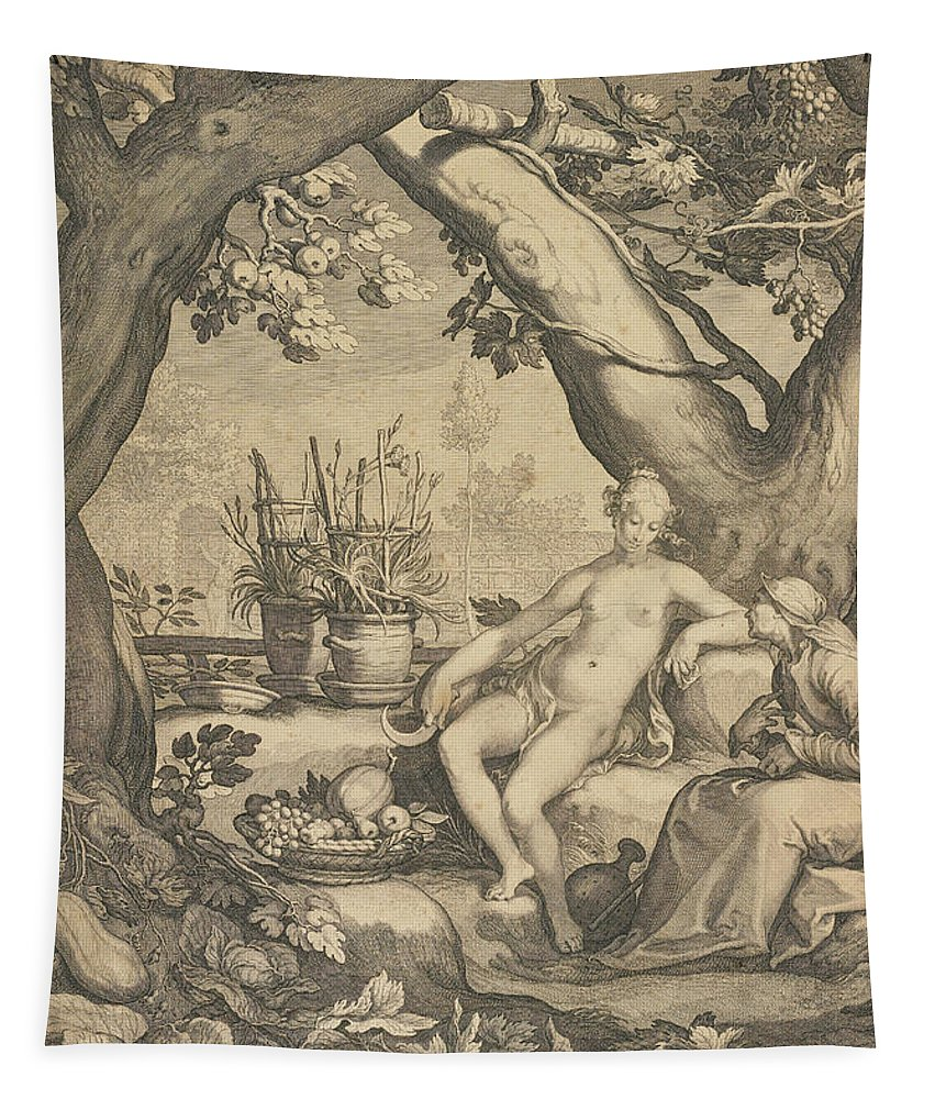 Garden Tapestry featuring the drawing Vertumnus And Pomona by Pieter Jansz Saenredam