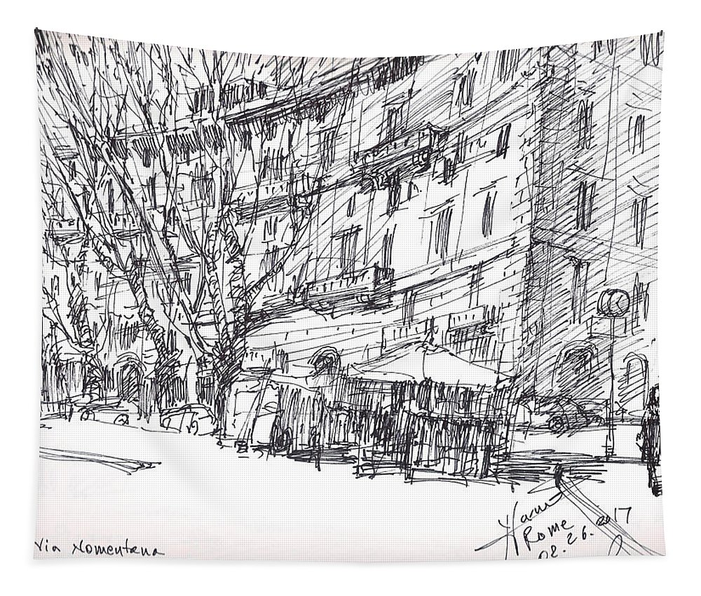 Rome Tapestry featuring the drawing Via Nomentana Rome by Ylli Haruni