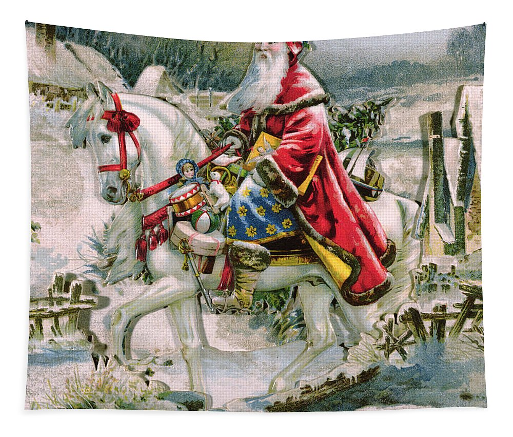 Present Tapestry featuring the painting Victorian Christmas Card Depicting Saint Nicholas by English School