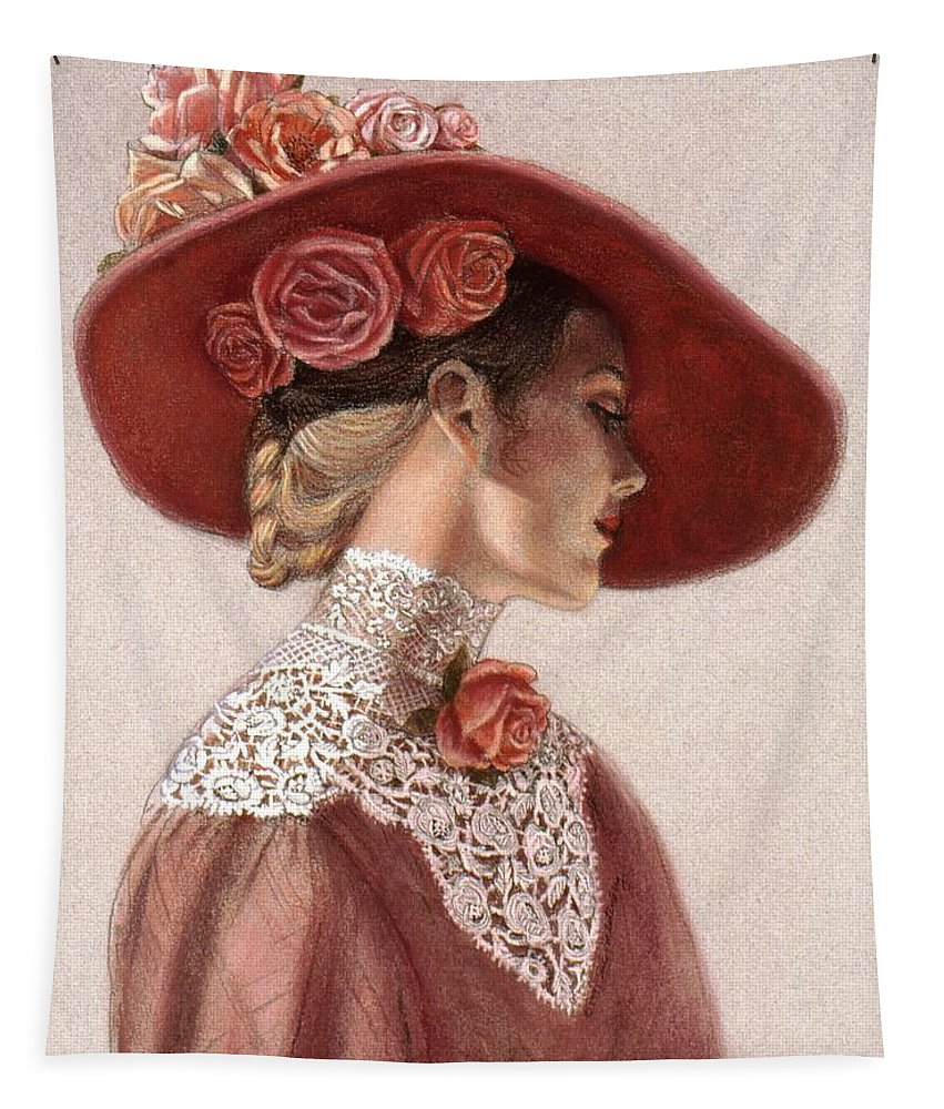 Victorian Lady Tapestry featuring the painting Victorian Lady in a Rose Hat by Sue Halstenberg