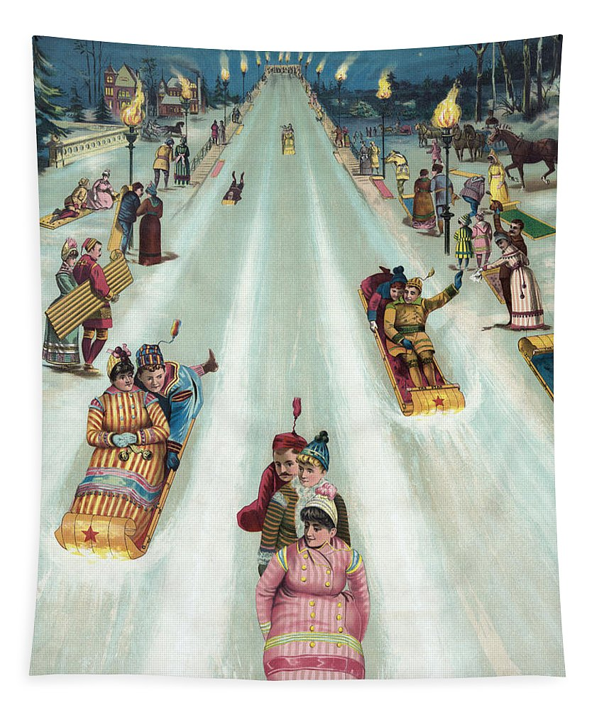 Christmas Tapestry featuring the painting Victorian Poster Of Night Sledding by American School