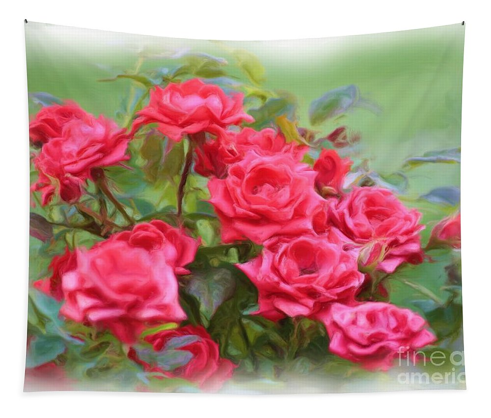 Floral Tapestry featuring the photograph Victorian Rose Garden - Digital Painting by Carol Groenen