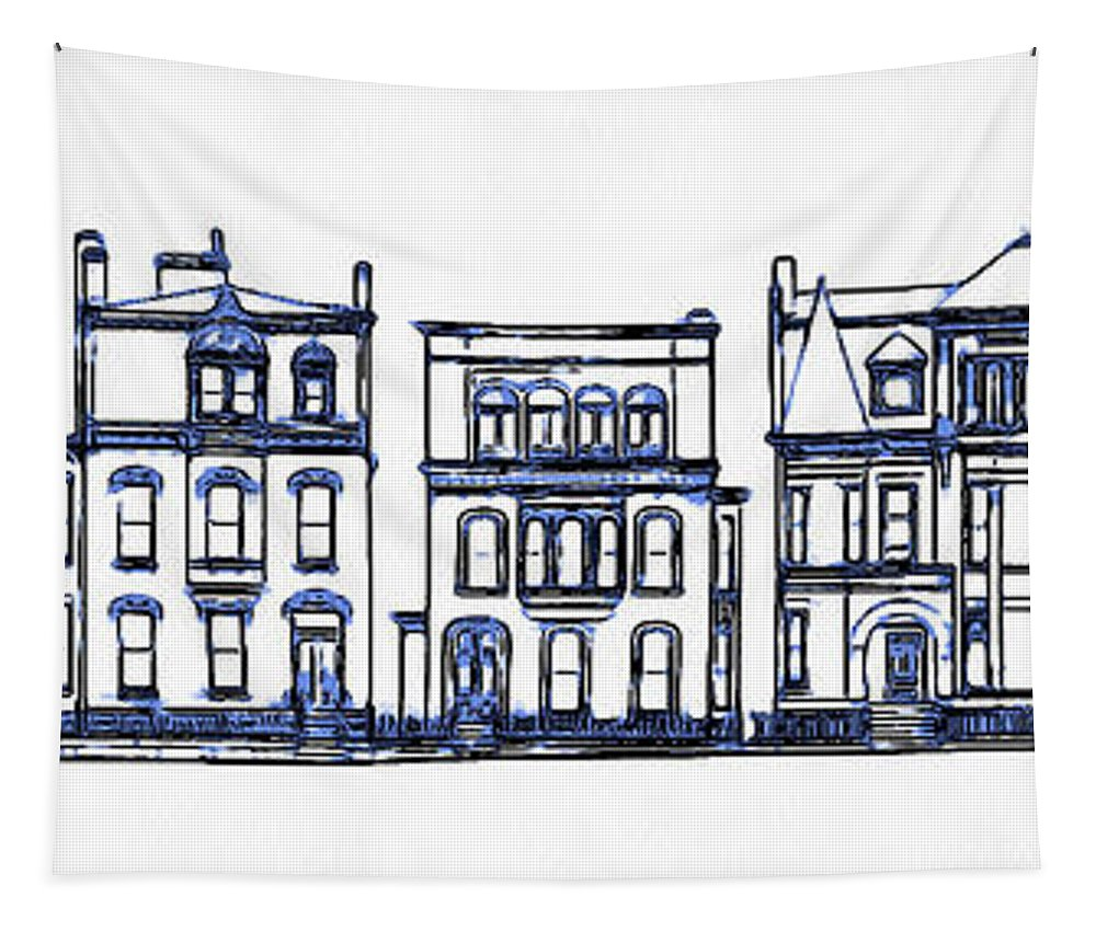 Row Tapestry featuring the digital art Victorian Row Houses by Edward Fielding