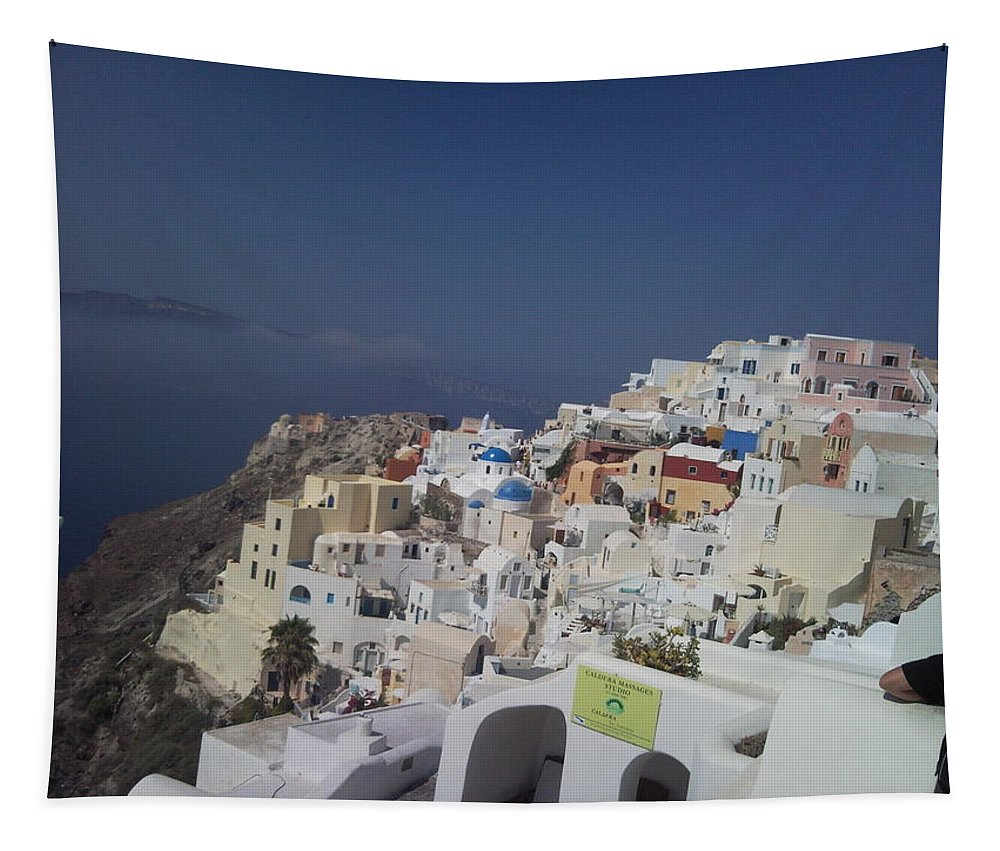 Landscape Tapestry featuring the photograph Viev Of Oia In Santorini by Maria Woithofer