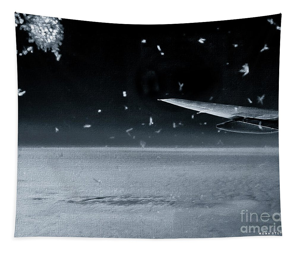 Mona Stut Tapestry featuring the photograph The View From Airplane Bw by Mona Stut