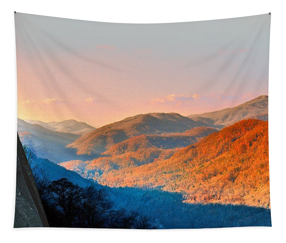 Landscape Tapestry featuring the photograph View From Chimney Rock-north Carolina by Steve Karol