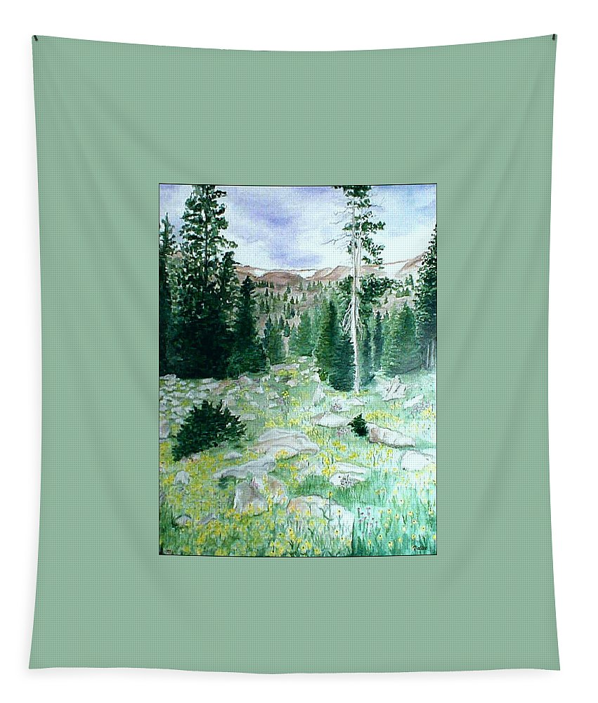 Landcape Painting Tapestry featuring the painting View From Lost Lake by Vallee Johnson