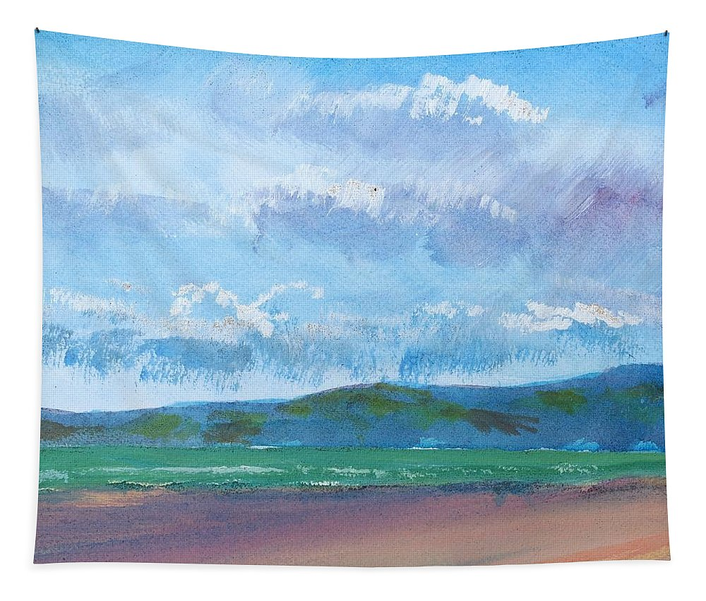 Sandy Bay Tapestry featuring the painting View From Sandy Bay Exmouth by Mike Jory