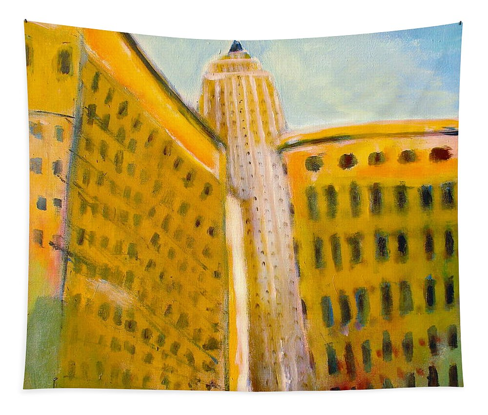 Abstract Cityscape Tapestry featuring the painting View From The 33 St by Habib Ayat