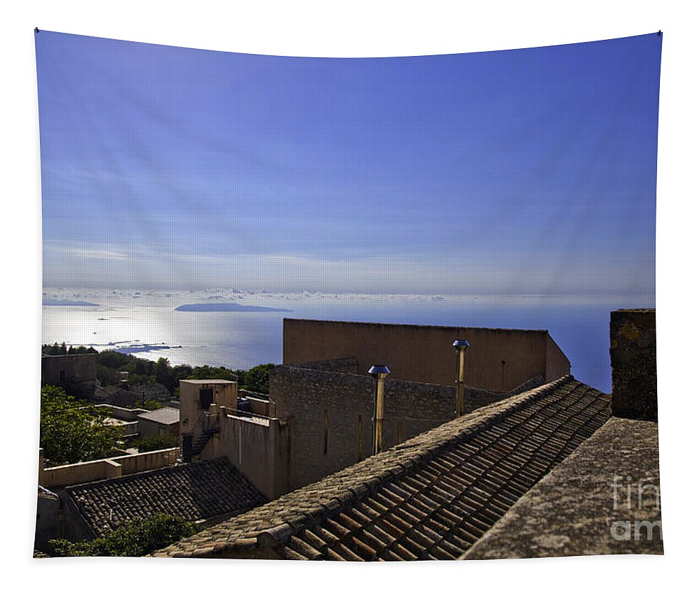 Rooftop Tapestry featuring the photograph View From The Top In Sicily by Madeline Ellis
