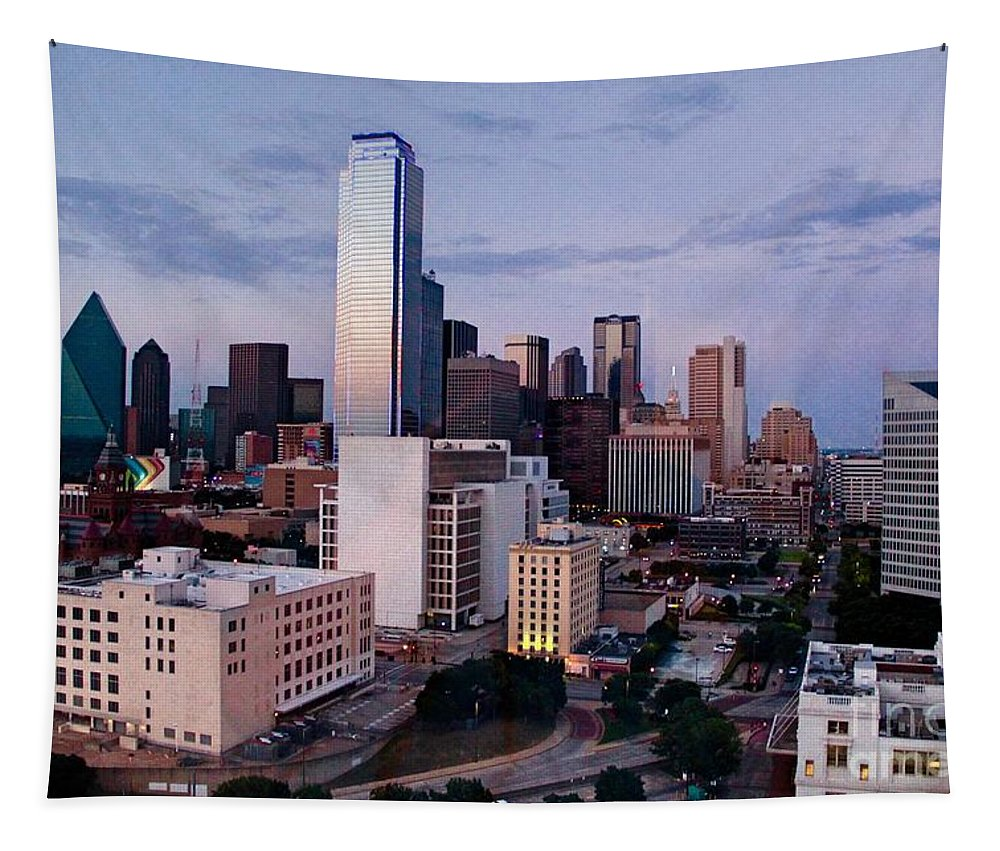 Downtown Dallas Tapestry featuring the photograph View From The Top by Linda James