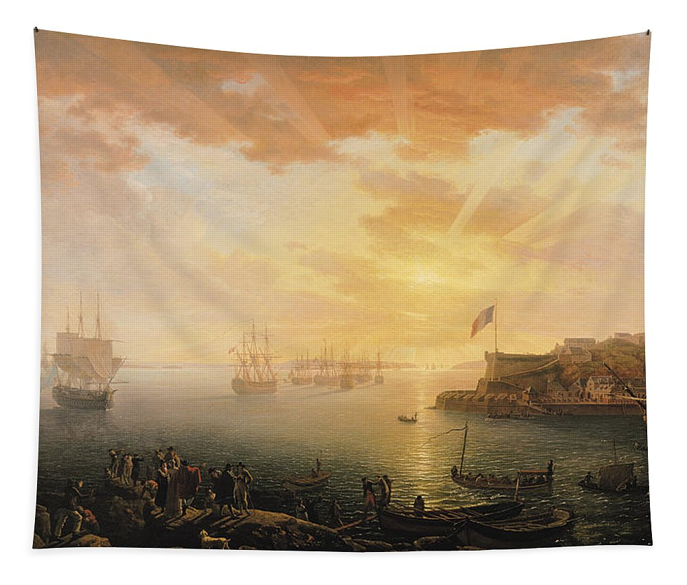 View Tapestry featuring the painting View Of Brest Harbor by Jean Francois Hue