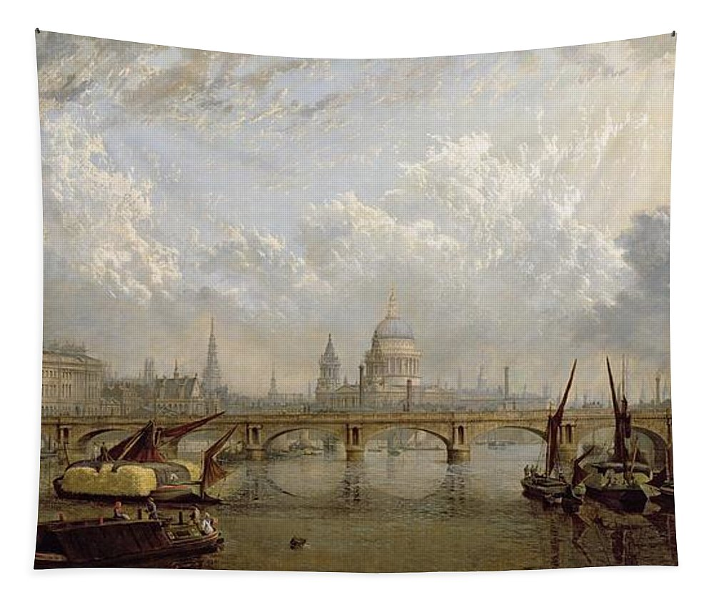 View Tapestry featuring the painting View Of London by John MacVicar Anderson