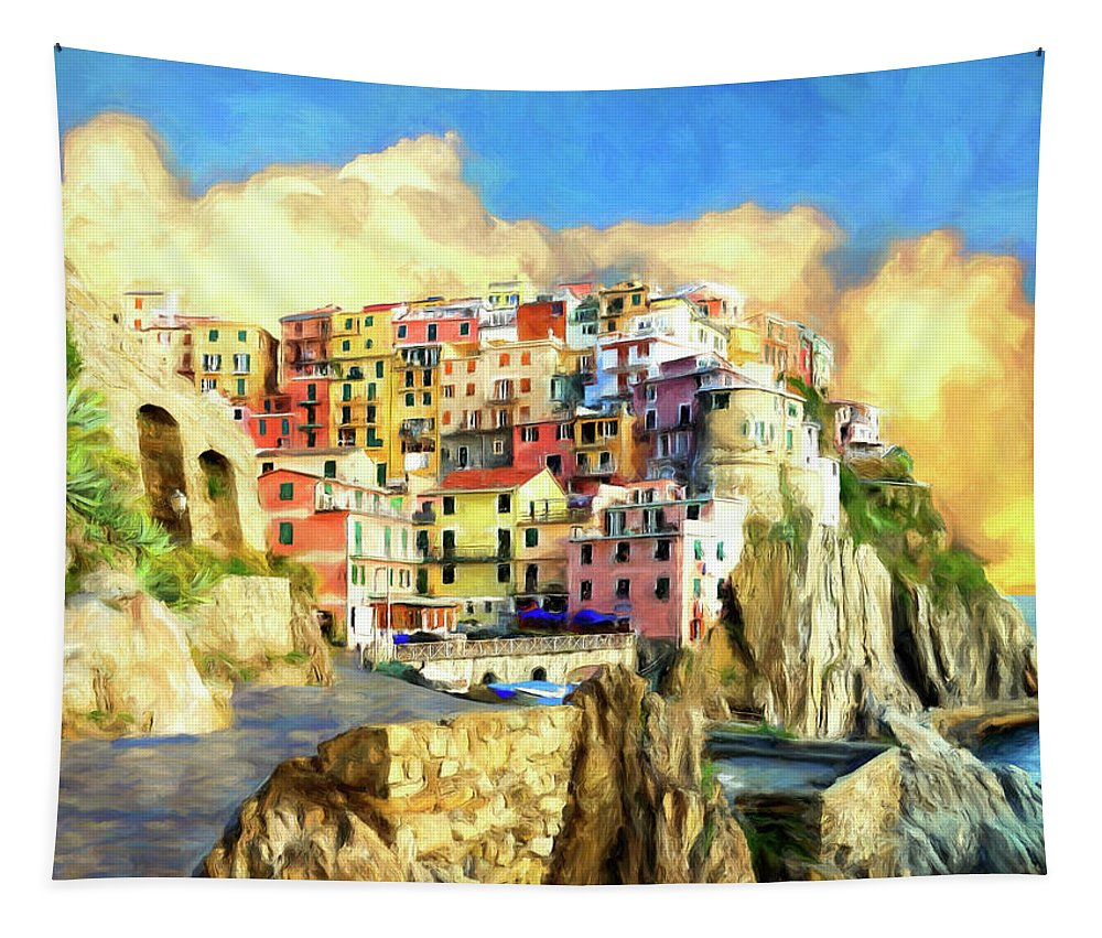 Italy Tapestry featuring the painting View Of Manarola Cinque Terre by Dominic Piperata