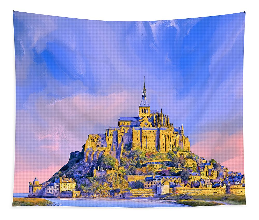 Mont-saint-michel Tapestry featuring the painting View Of Mont Saint Michel by Dominic Piperata