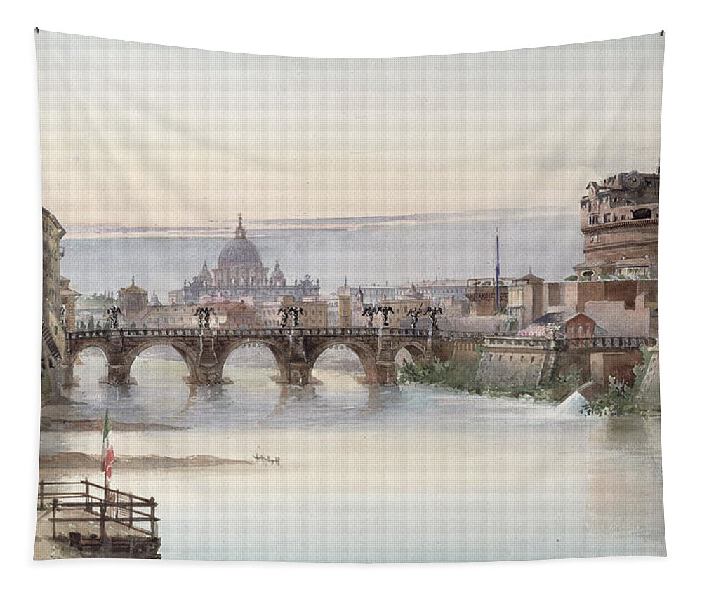 View Tapestry featuring the painting View Of Rome by I Martin