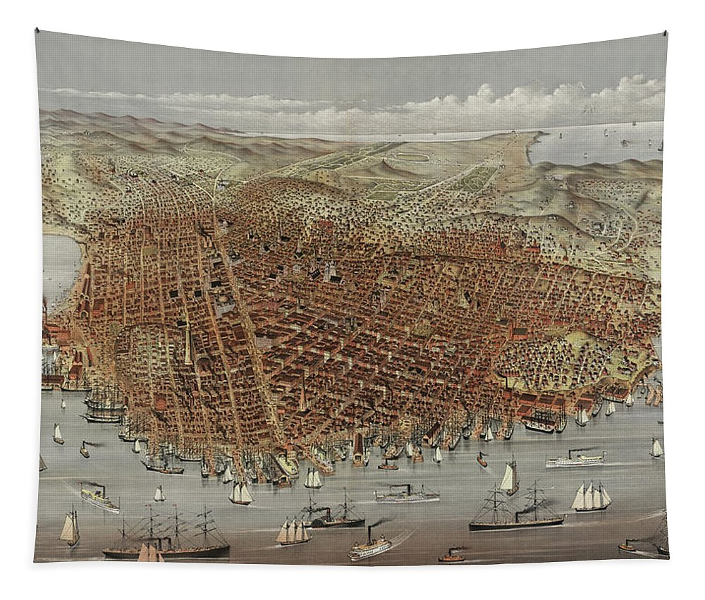San Francisco Tapestry featuring the painting View Of San Francisco by American School