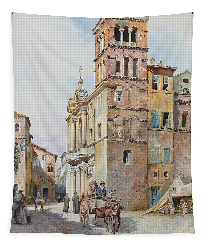 Tapestry featuring the painting View Of Santa Maria In Monticelli, Rome by Ettore Roesler Franz