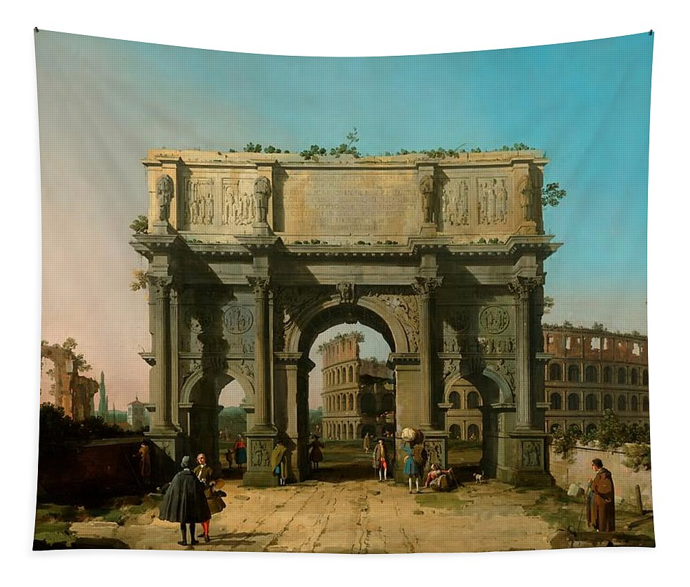 Painting Tapestry featuring the painting View Of The Arch Of Constantine With The Colosseum by Mountain Dreams