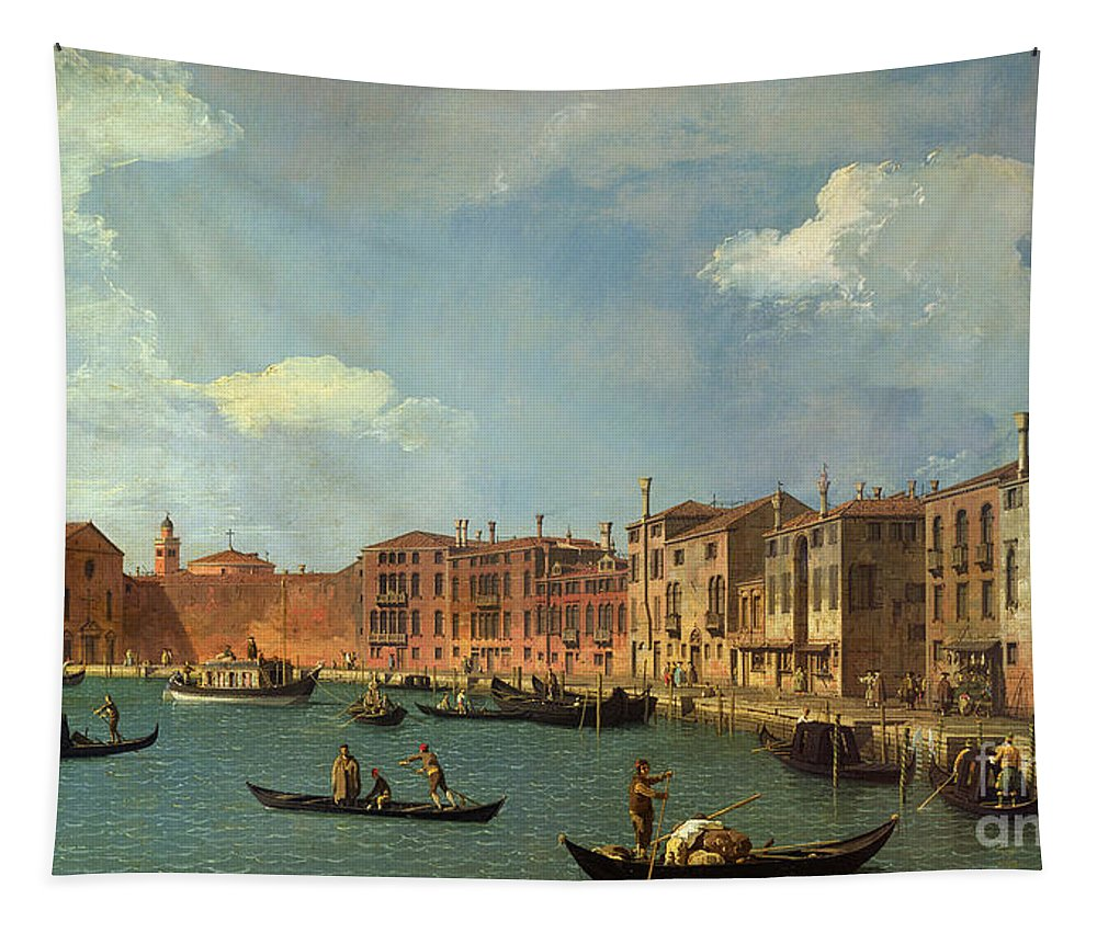 View Of The Canal Of Santa Chiara Tapestry featuring the painting View Of The Canal Of Santa Chiara by Canaletto