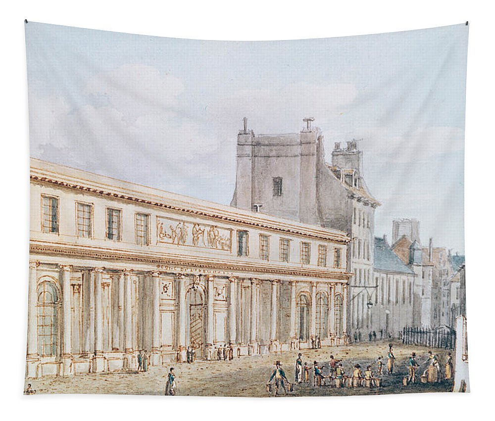 View D'ecole Tapestry featuring the painting View Of The Ecole De Medecine by Victor Jean Nicolle