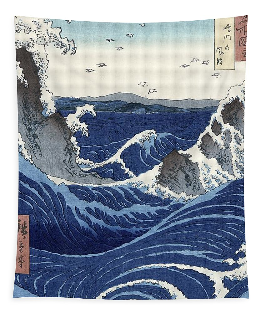 View Tapestry featuring the painting View of the Naruto whirlpools at Awa by Hiroshige