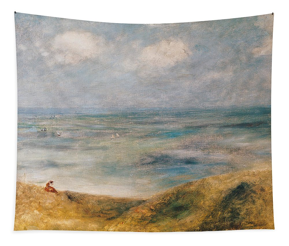 Sailing Boat; Landscape; Coast; Coastal; Impressionist; Seated Female; Peace; Tranquility; Island Tapestry featuring the painting View Of The Sea Guernsey by Pierre Auguste Renoir