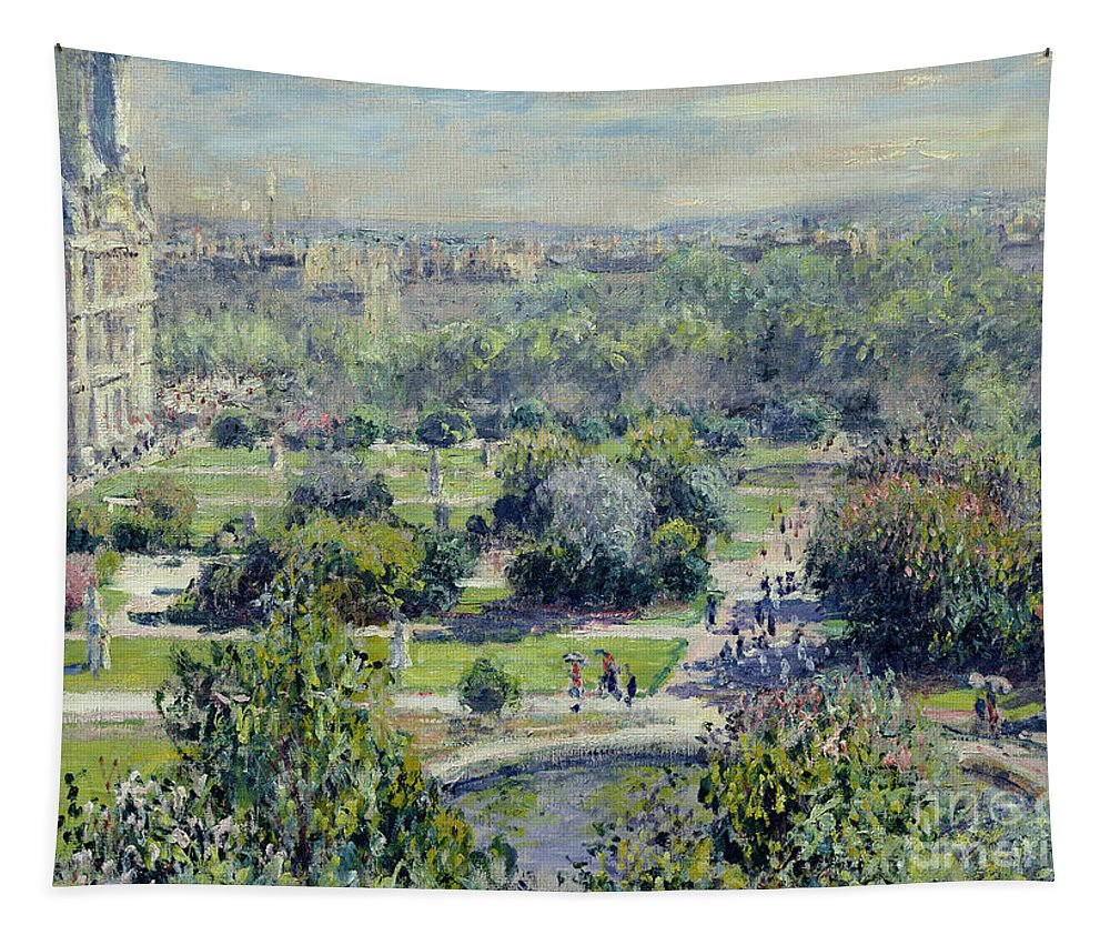 View Tapestry featuring the painting View Of The Tuileries Gardens by Claude Monet