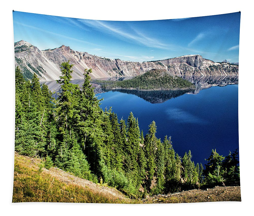 Wizard Island Tapestry featuring the photograph View Of Wizard Island Crater Lake by Frank Wilson
