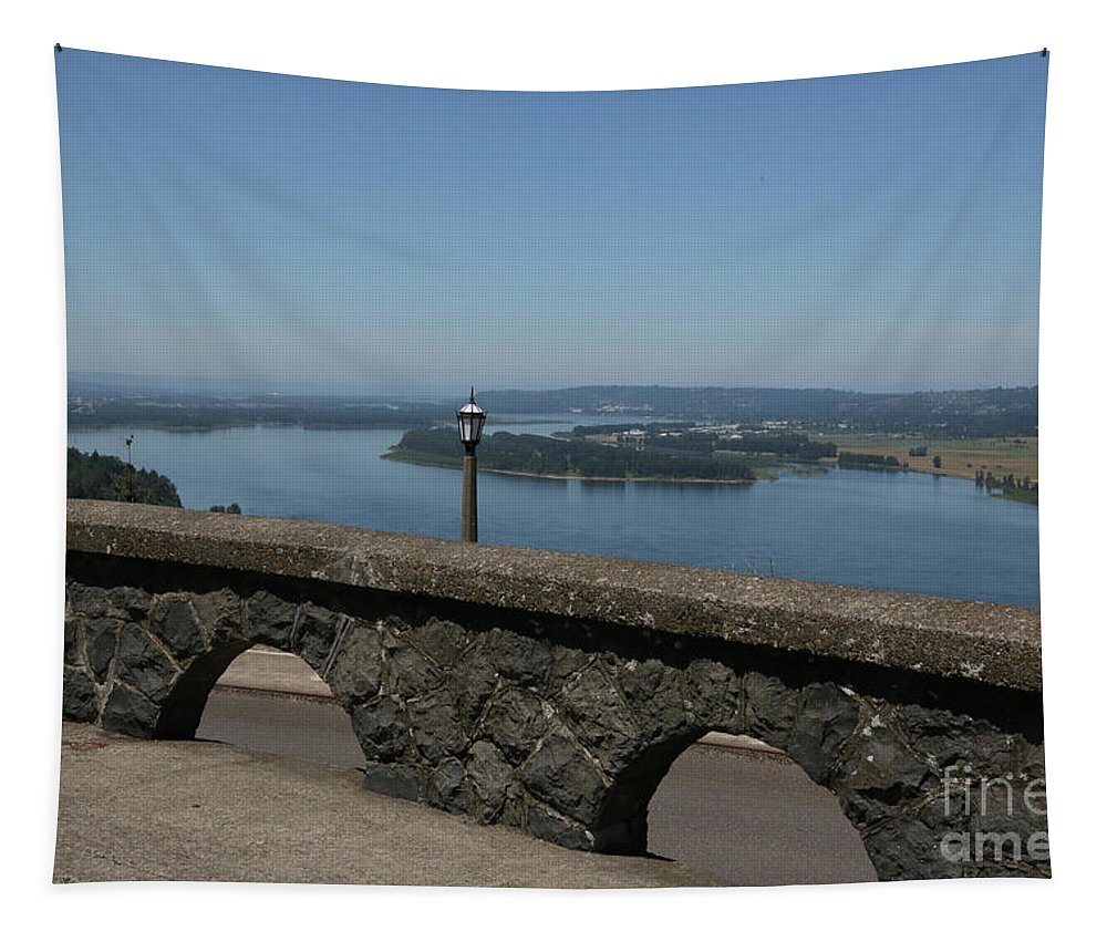 Columbia River Tapestry featuring the photograph View To The West Of Crown Point by Carol Groenen