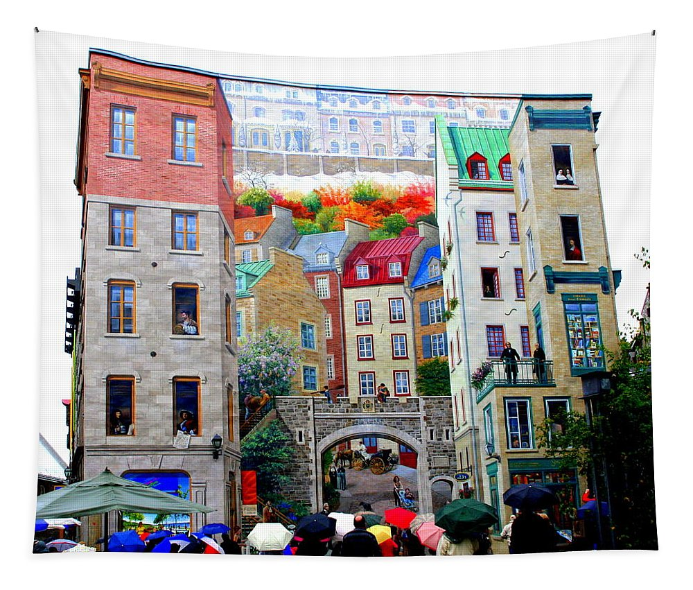 La Fresque Des Quebecois Tapestry featuring the photograph Viewing A Mural At La Fresque Des Quebecois by Laurel Talabere
