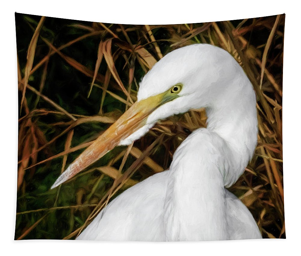 Vigilant Egret Tapestry featuring the photograph Vigilant Egret by Wes and Dotty Weber