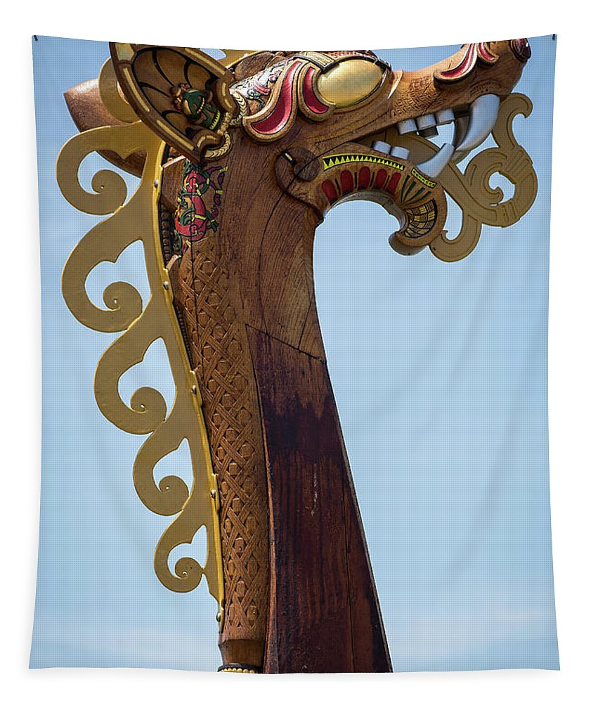Viking Ship Dragon Head Tapestry featuring the photograph Viking Ship Dragon Head by Dale Kincaid