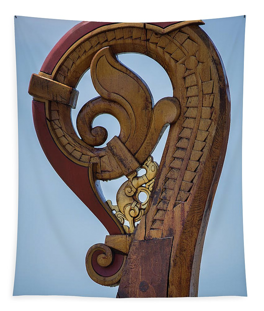 Viking Ship Dragon Tail Tapestry featuring the photograph Viking Ship Dragon Tail by Dale Kincaid
