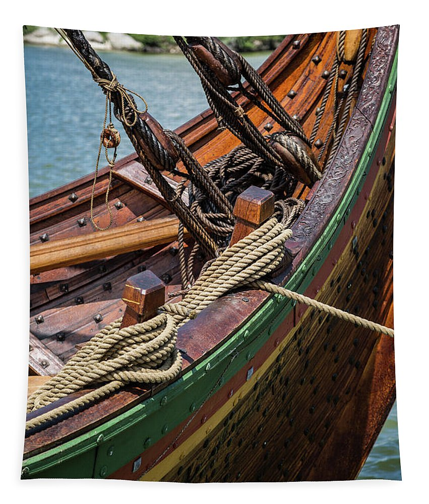 Ship Tapestry featuring the photograph Viking Ship Rigging by Dale Kincaid
