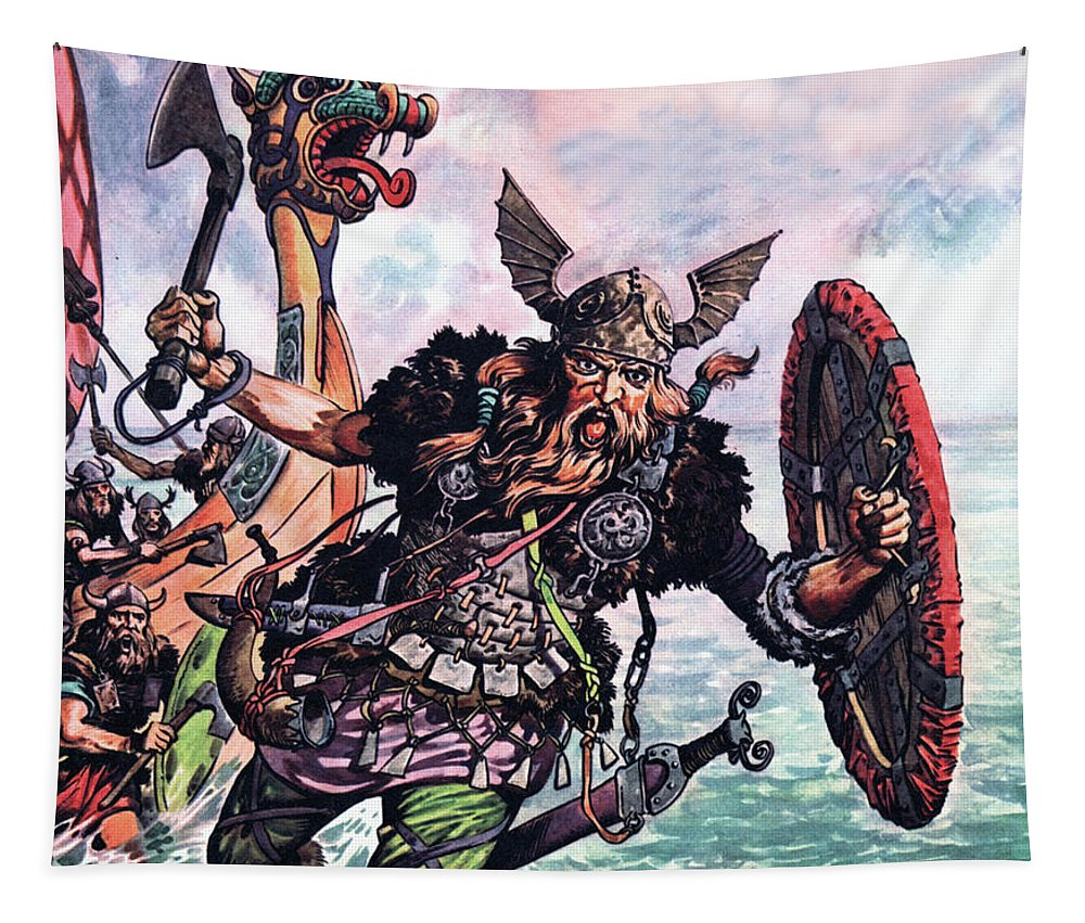 Viking Tapestry featuring the painting Vikings by Peter Jackson