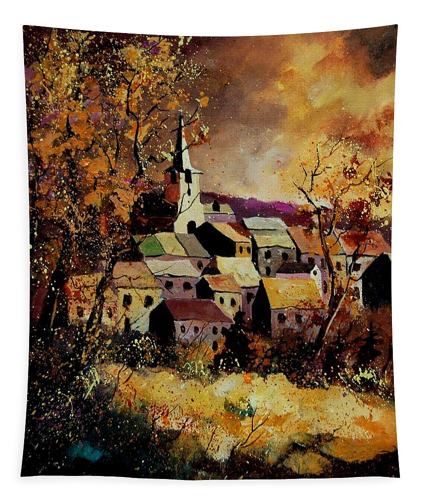 River Tapestry featuring the painting Village In Fall by Pol Ledent