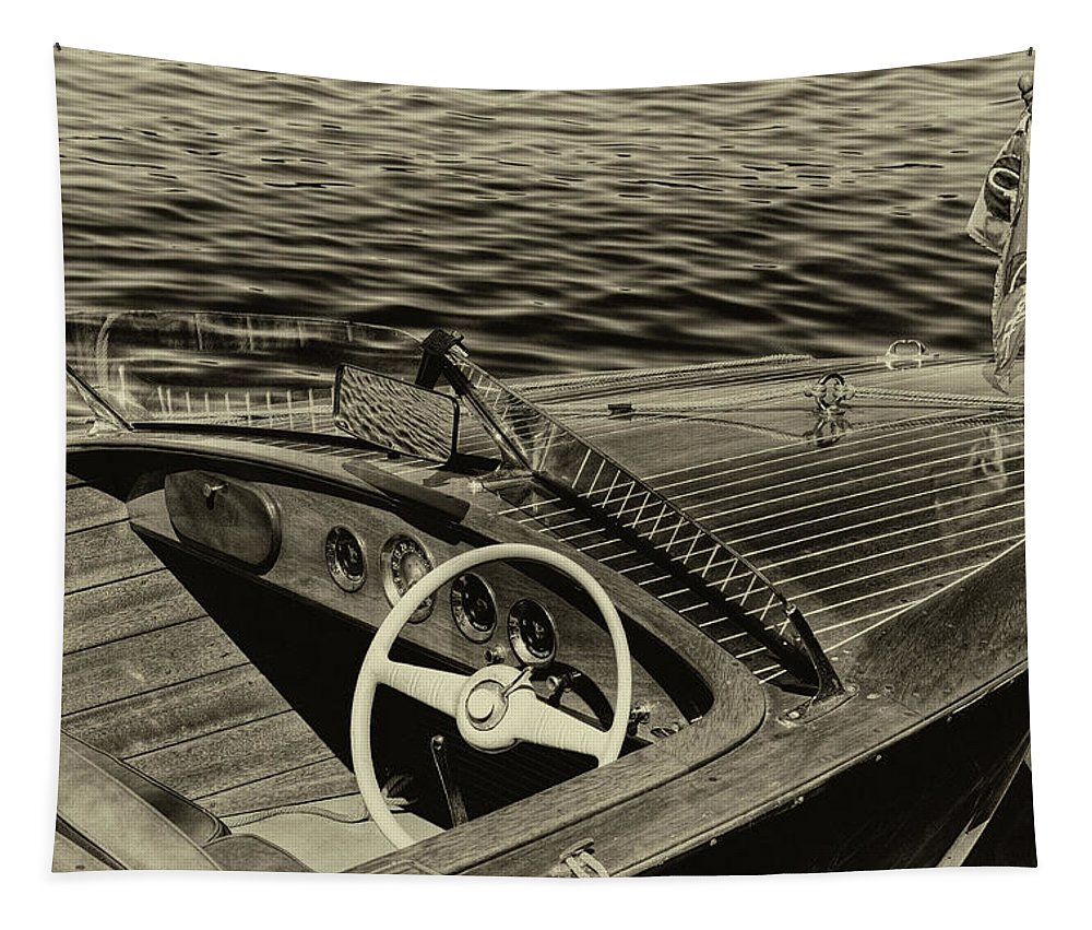 1958 Chris-craft Continental Tapestry featuring the photograph Vintage 1958 Chris Craft Utility Boat by David Patterson