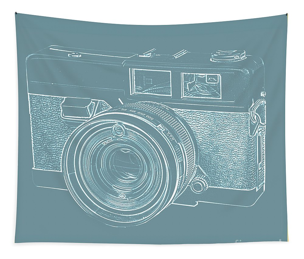 Vintage Tapestry featuring the photograph Vintage 35mm Film Camera Blue Pop Art by Edward Fielding