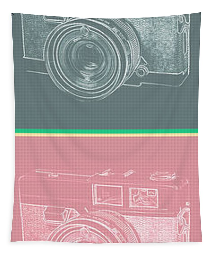 Vintage Tapestry featuring the photograph Vintage 35mm Film Camera Pop Art Totem by Edward Fielding