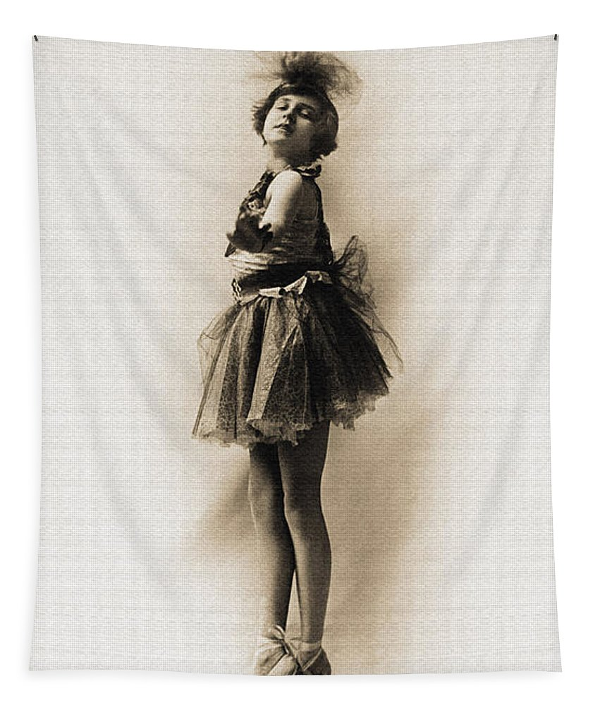 Antique Tapestry featuring the photograph Vintage Ballet Dancer On Pointe by R Muirhead Art