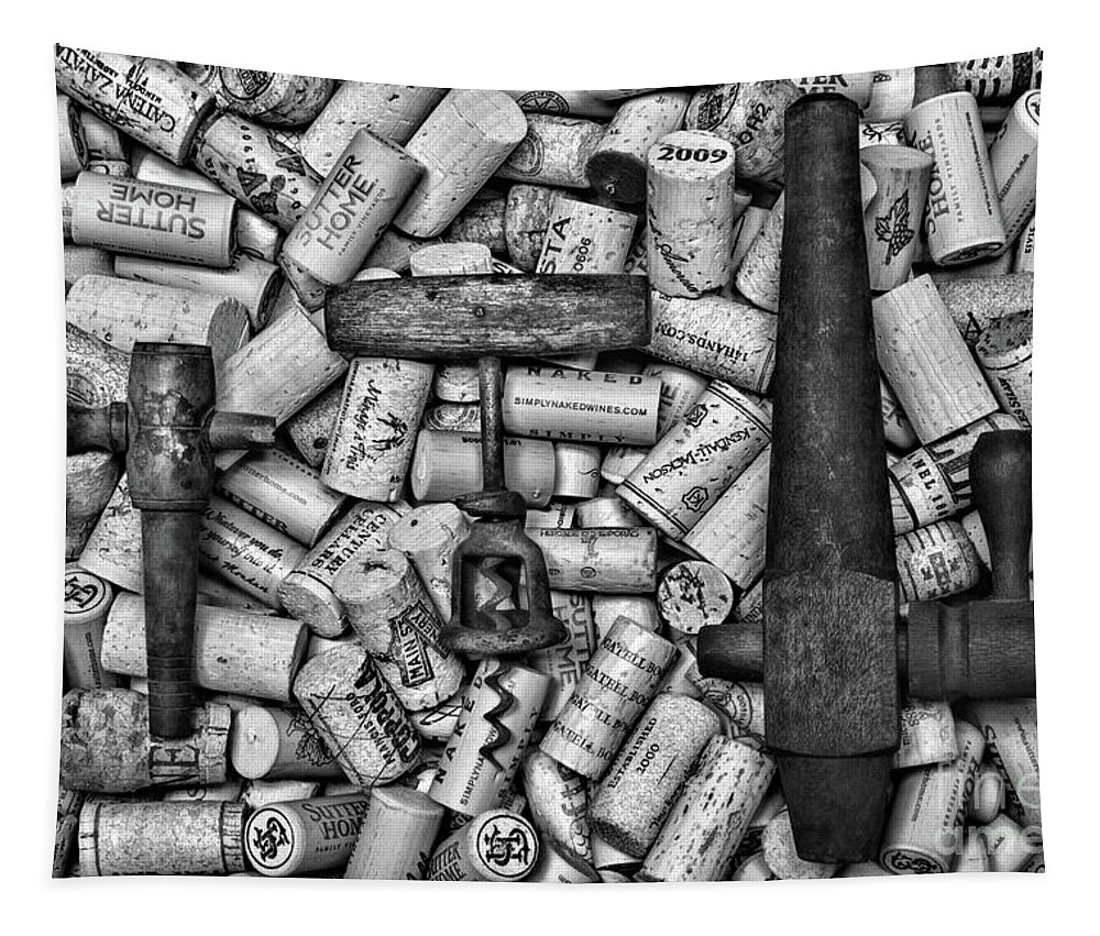 Paul Ward Tapestry featuring the photograph Vintage Barrel Taps And Cork Screw Black And White by Paul Ward