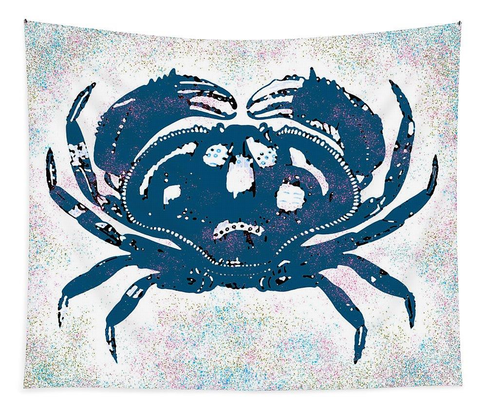Crab Tapestry featuring the digital art Vintage Blue Crab by Joy McKenzie