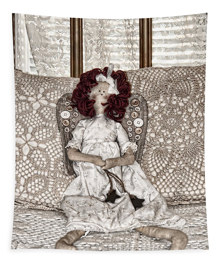 Doll Tapestry featuring the photograph Vintage Button Angel Doll On Crocheted Spread by Mitch Spence
