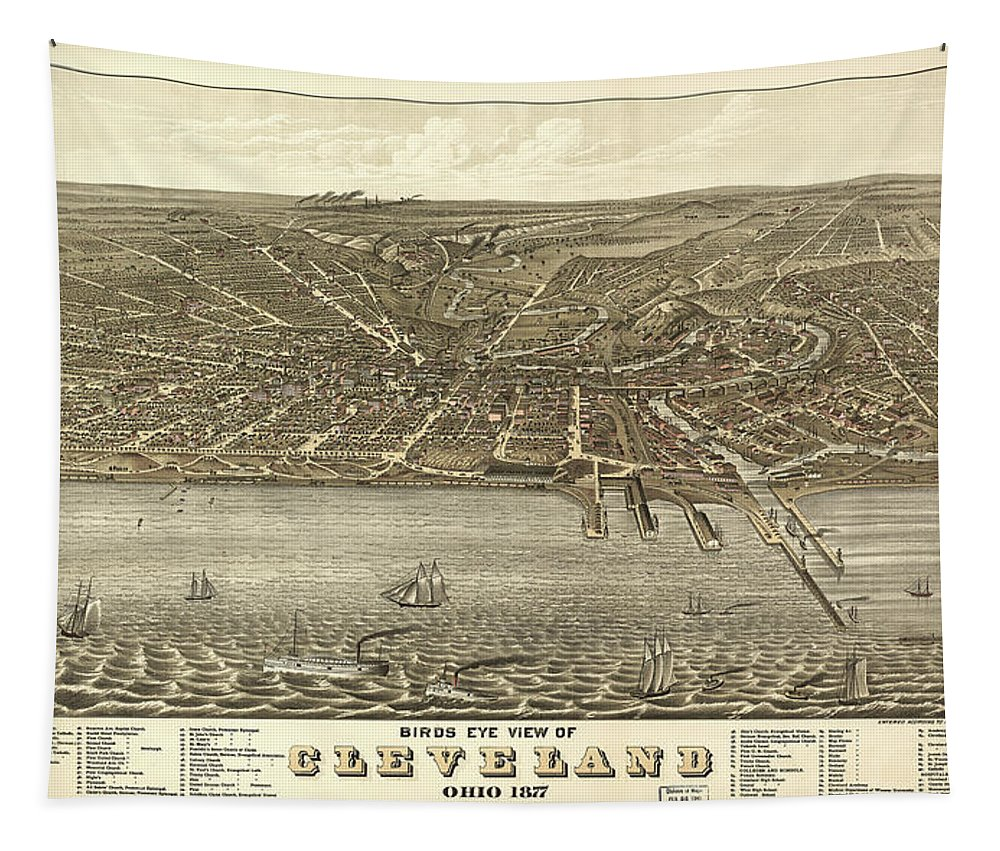 Map Tapestry featuring the mixed media Vintage Cleveland Ohio Map by Mountain Dreams