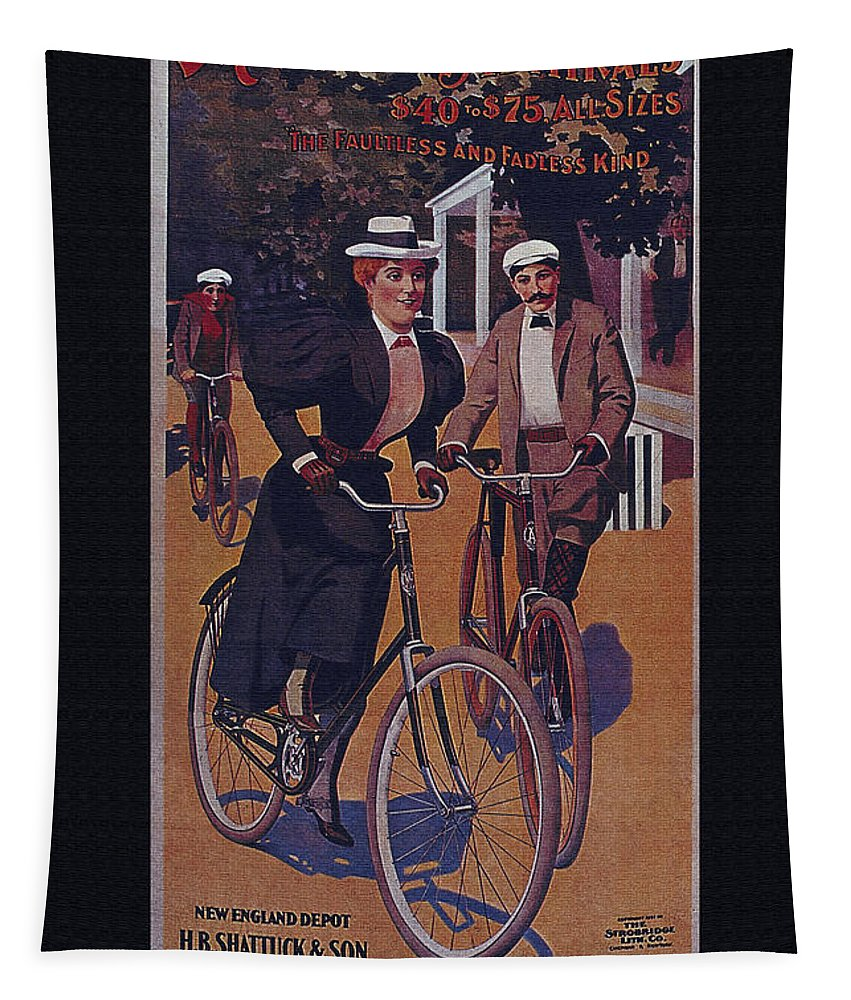 Vintage Tapestry featuring the digital art Vintage Cycle Poster March Davis Cycle 100 Dollars by R Muirhead Art