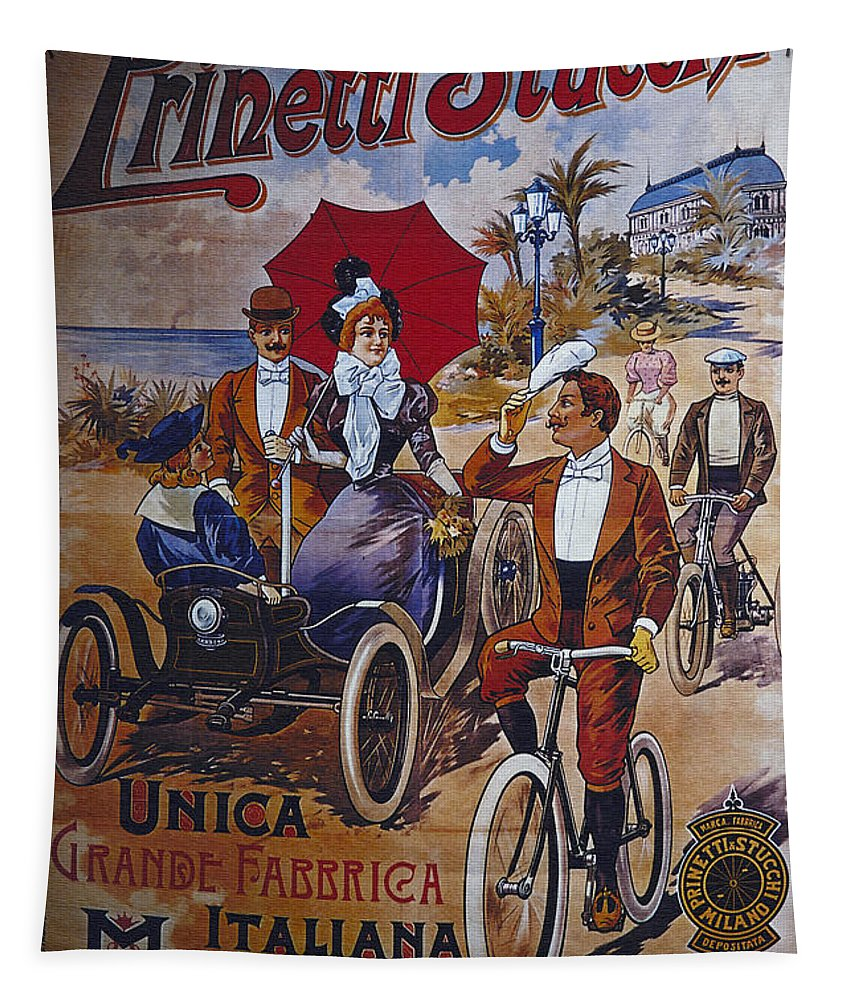 Vintage Tapestry featuring the digital art Vintage Cycle Poster Prinetti Stucchi Unica Grande Fabbrica Italiana Milano by R Muirhead Art