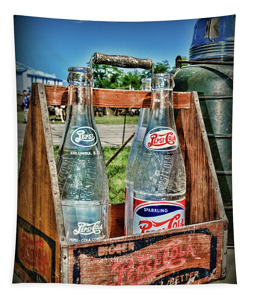 Paul Ward Tapestry featuring the photograph Vintage Double Dot Wooded Pepsi Carrier by Paul Ward