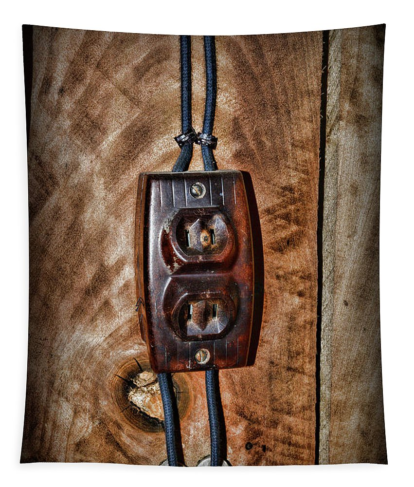 Paul Ward Tapestry featuring the photograph Vintage Electrical Outlet by Paul Ward